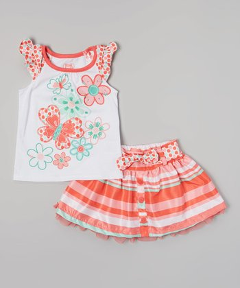 Orange Butterfly Angel-Sleeve Top & Stripe Skirt - Girls
