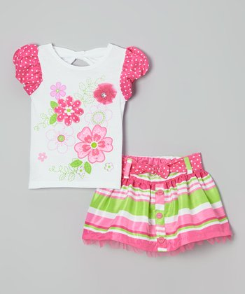 Pink Flower Puff-Sleeve Tee & Stripe Skirt - Girls
