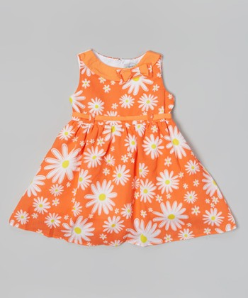 Coral Daisy A-Line Dress - Toddler & Girls