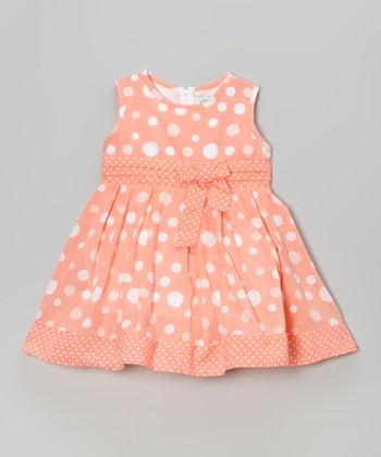Coral Polka Dot Sleeveless A-Line Dress - Toddler & Girls
