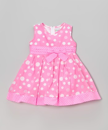 Pink Polka Dot Sleeveless A-Line Dress - Toddler & Girls