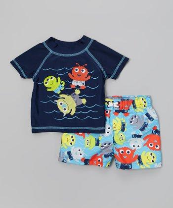 Watch Me Grow Navy Monster Rashguard & Blue Swim Trunks - Infant & Toddler