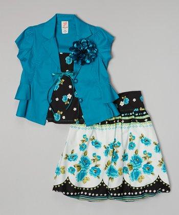 Aqua Blossom Skirt Set - Toddler & Girls