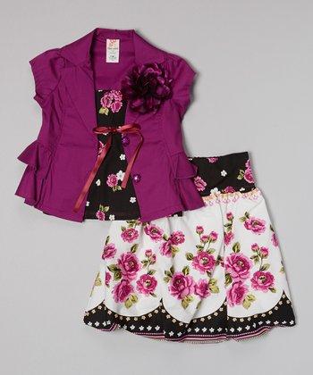 Purple Blossom Skirt Set - Toddler & Girls