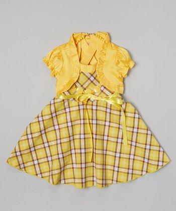 Yellow Plaid Dress & Puff-Sleeve Shrug - Girls