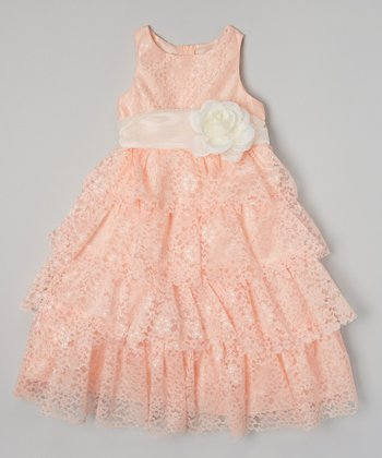 Coral Lace Tiered Dress - Toddler & Girls