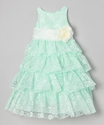 Mint Lace Tiered Dress - Toddler & Girls