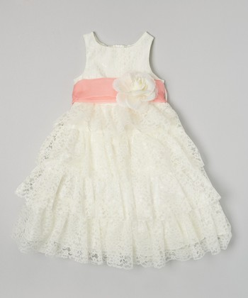 Ivory & Coral Lace Tiered Dress - Toddler & Girls