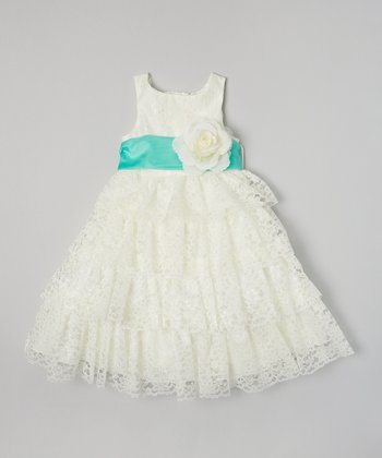 Ivory & Mint Lace Tiered Dress - Toddler & Girls