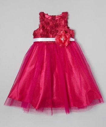 Fuchsia Petal Flower Dress - Toddler & Girls