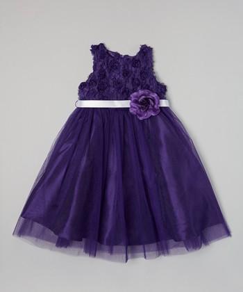 Purple Petal Flower Dress - Girls