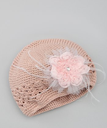 Pink & Taupe Gem Flower Crocheted Beanie
