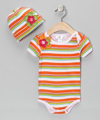 Truffles Ruffles Orange Stripe Happy Together Bodysuit & Beanie