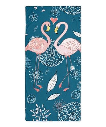 Blue Cute Flamingos Beach Throw