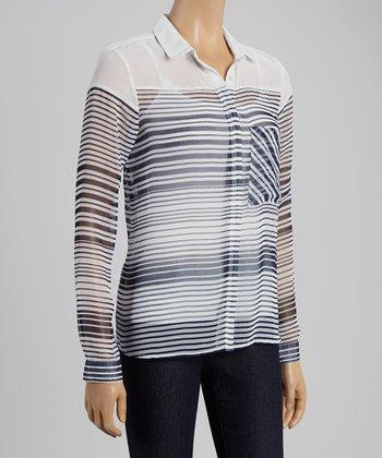 Midnight Horizontal Stripe Button-Up