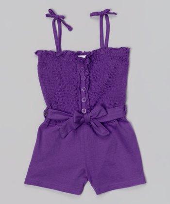 Purple Shirred Romper - Girls