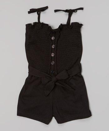 Black Shirred Romper - Girls