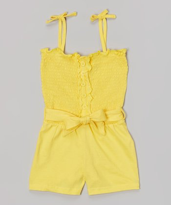 Yellow Shirred Romper - Girls