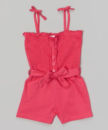 Pink Shirred Romper - Girls