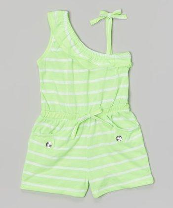 Lime Stripe Asymmetrical Romper - Girls