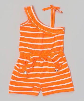 Orange Stripe Asymmetrical Romper - Girls