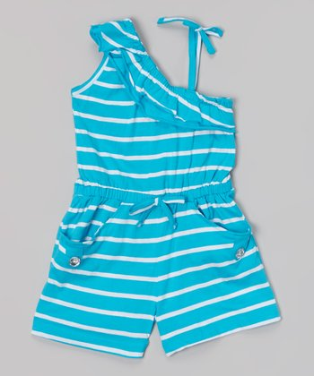 Cyan Stripe Asymmetrical Romper - Girls