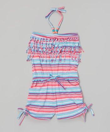 Pink & Blue Stripe Romper - Infant, Toddler & Girls