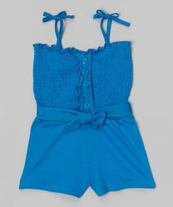 Smurf Blue Shirred Romper - Girls