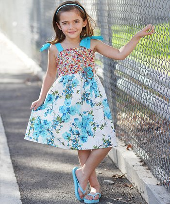 Turquoise Floral Tie Dress - Girls
