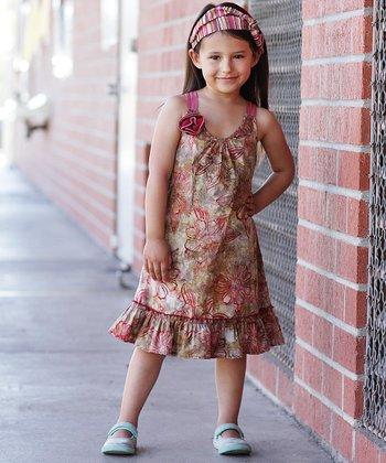 Wine Rosette Ruffle Dress - Toddler & Girls
