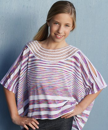 Ivory Stripe Cutout Top - Girls