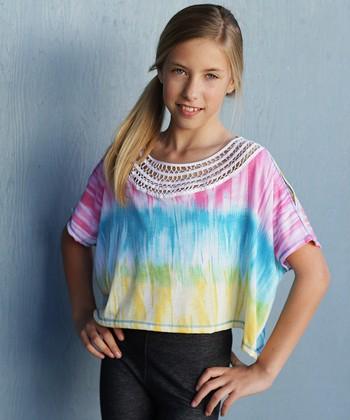 Pink & Blue Tie-Dye Cutout Top - Girls