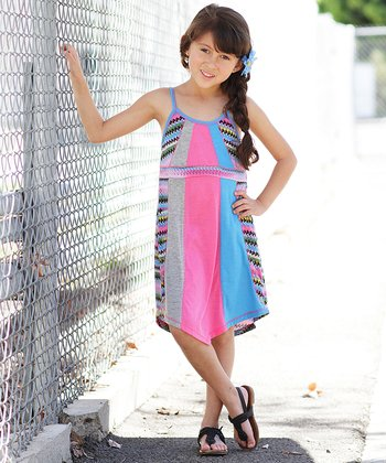 Turquoise & Coral Stripe Color Block Dress - Girls
