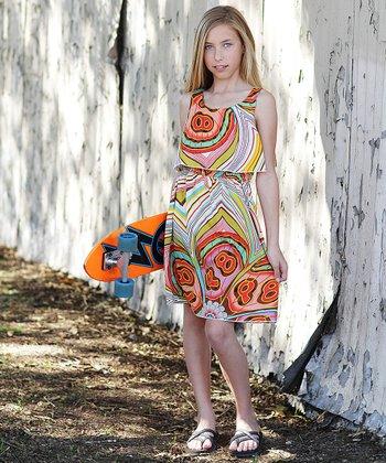 Orange Swirl Tiered Dress - Girls