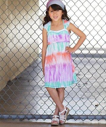 Purple Tie-Dye Cross-Back Dress - Girls