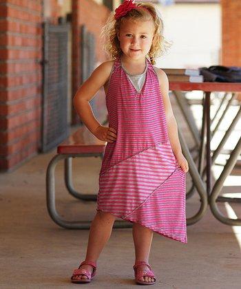 Hot Pink & Gray Stripe Racerback Dress - Girls