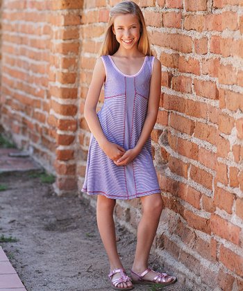 Navy & White Stripe Dress - Girls