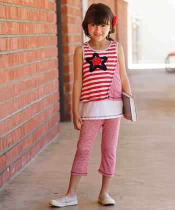 Red & White Stripe Star Tank & Capri Pants - Toddler & Girls