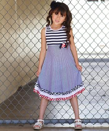 Navy & White Stripe Ruffle Swing Dress - Toddler & Girls