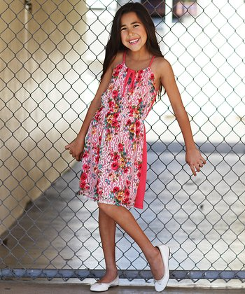 Coral Floral Lace Dress - Girls