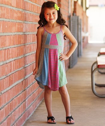 Fuchsia Color Block Dress - Girls