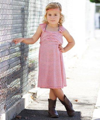 Coral Stripe Cross-Back Dress - Girls