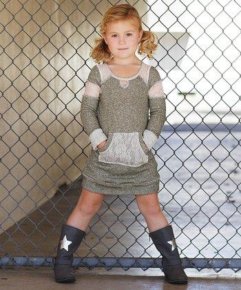 Olive Lace Sweatshirt Dress - Girls