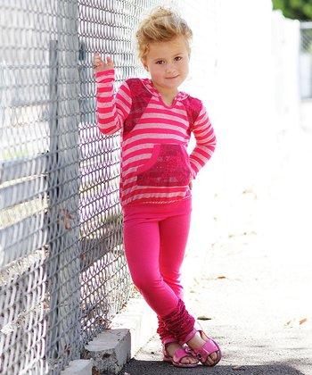 Pink Stripe Hoodie & Leggings - Toddler & Girls