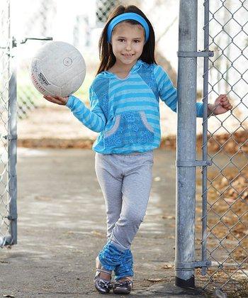 Blue & Gray Stripe Hoodie & Leggings - Toddler & Girls