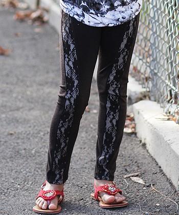Black Lace Stripe Leggings - Girls