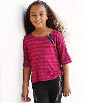 Magenta Stripe Zipper Hi-Low Top - Girls