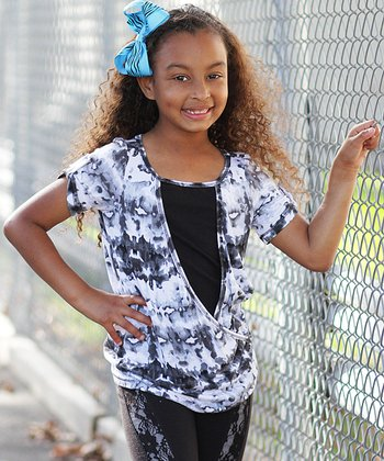 Gray & Black Ink Blot Wrap Tunic - Girls