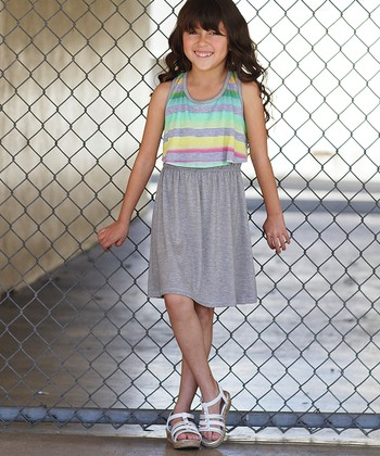 Heather Gray & Tropical Stripe Layered Dress - Girls