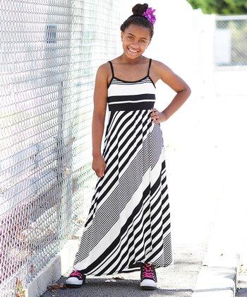 Black & White Diagonal Stripe Maxi Dress - Girls